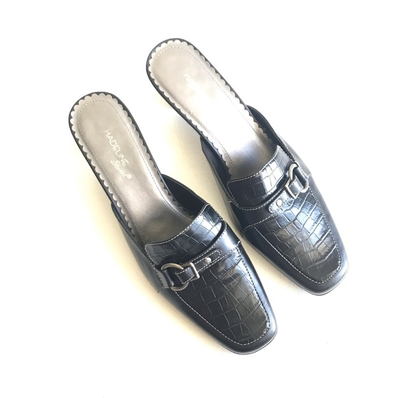 Madeline Stuart Shoes - Madeline Stuart Waverly Black Mules Silver Accent